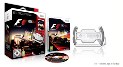 Caixa do jogo Formula 1 2009 para WII, com acessório volante